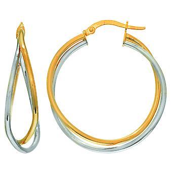 14K желтого и белого золота крест накрест двухрядные Хооп серьги, диаметр 30 мм