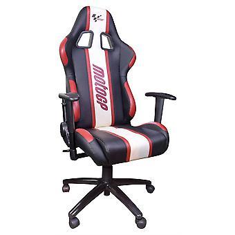 Chaise motoGP avec accoudoirs rouge / blanc / noir