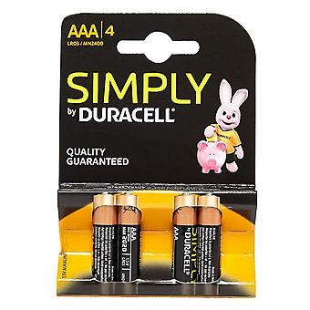 New DURACELL Simply AAA Batteries - 4 pack Assorted