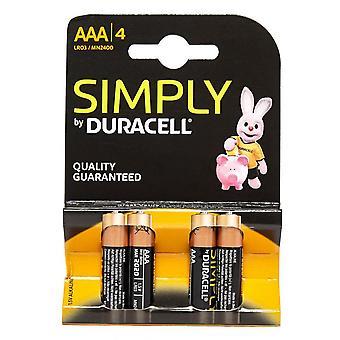 Nieuwe DURACELL Simply AAA Batterijen - 4 pack Zwart
