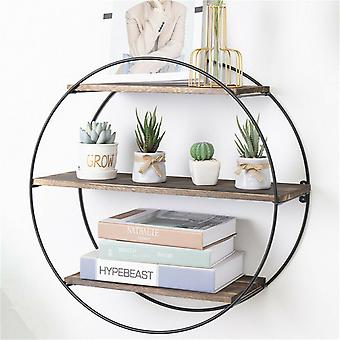 Industrial Large Round Wall Mounted Shelves Strong Floating Shelves Storage Unit