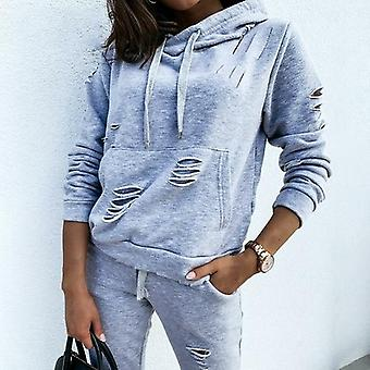 Casual Hole Pants Women & apos;s Suit Hoodie Slim Fit Tweedelige Set