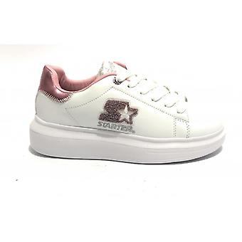 Women's Sneaker Starter Wedge Bottom In Faux Leather Color White/ Pink D20st07