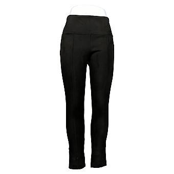 Andrew Marc Women's Pants Taupe Faux Suede Elastic Waist Black