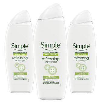 Simple Kind to Skin, Gel refrescante de baño de ducha, 3 paquetes de 500ml