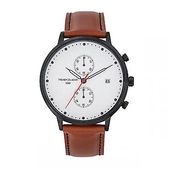 Trendy Classic horloge CC1046-01-duel chronograaf Bo tier staal zwart lederen armband bruin wit Dial wit