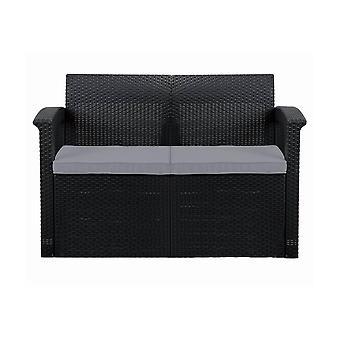 Grafiet 2-zits rotan effect sofa & kussen tuin terrasmeubilair