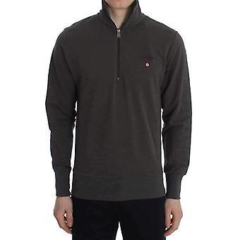 Gray Cotton Stretch Half Zipper Sweater
