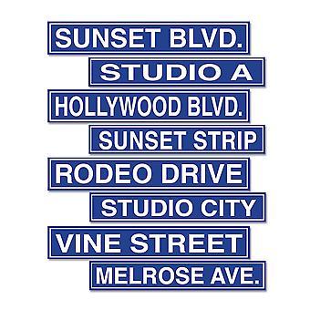 Recortes de letreros de Hollywood Street (Pack Of 12)
