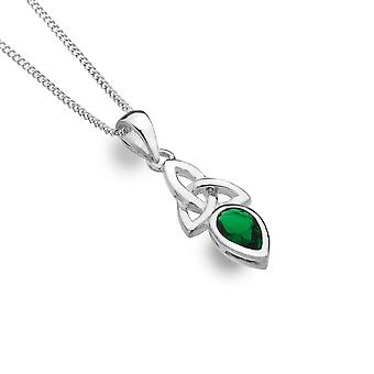 Sterling Silver Pendant Necklace - Celtic Trinity + Synthetic / Green