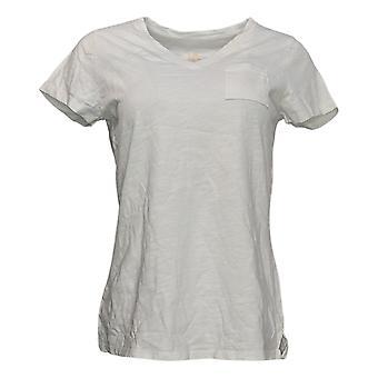 Belle by Kim Gravel Women's Top Reg Short Sleeve Pocket White A382350