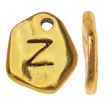 Final Sale - Gold Plated Lead-Free Pewter, Pebble Alphabet Charms Letter 'Z' 9x10mm, 10 Pieces, Antiqued Gold
