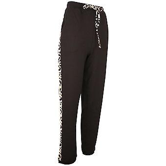 Passioni Black Leopard Print Sports Look Soft Jersey Joggers