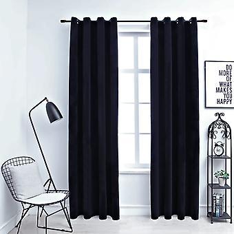 vidaXL Cortinas blackout con ojales 2 piezas. Velvet Black 140x225 cm