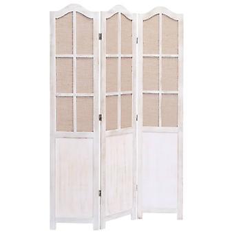 vidaXL 3-osainen huoneenjakaja valkoinen 105 x 165 cm kangas