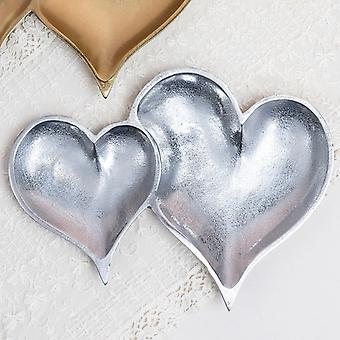 Two Section Textured Silver Heart Shaped Tray