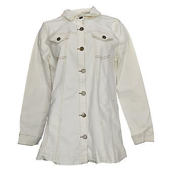 LOGO by Lori Goldstein Women's Denim Jacket w/ Released Hem Ivory A378661