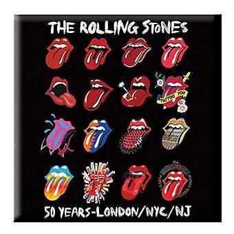 Rolling Stones Nevera Imán Lengua Evolución Banda Logo Oficial Negro 5 x 5 cm