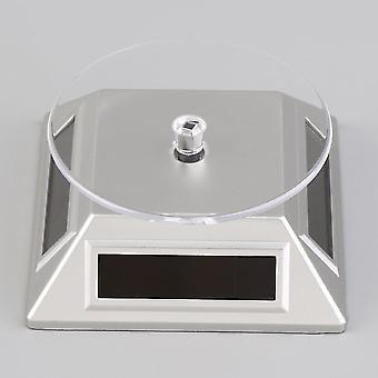 Solar Powered Rotating Joias Móvel Anel pulseira relógio suporte de exibição