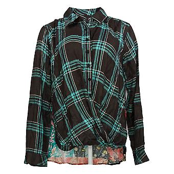 Tolani Collection Women's Top Reg Pullover Plaid Blue A382635
