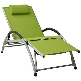 vidaXL leżak z poduszką Textile Green
