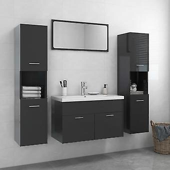 vidaXL meuble de salle de bain set de panneau de particules brillant-gris
