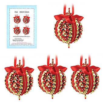 Pinflair Sequin & Pin Red & Gold Sweet Noel Christmas Baubles - Makes 4