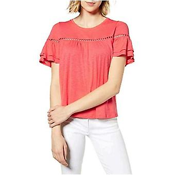 CeCe Womens Eyelet Ruffled Pullover Top