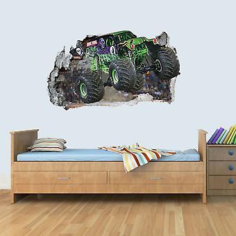 Vinyle mur défoncé Art 3D autocollants de Monster Truck Poster chambre garçons filles