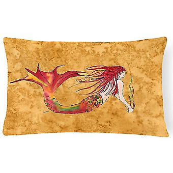 Pillows ginger red headed mermaid on gold canvas fabric decorative pillow