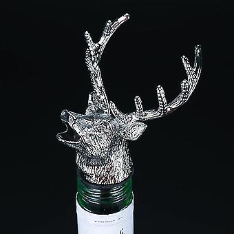 Scandinavian style zinc alloy animal themed wine stopper and pourer(Silver Deer Head)