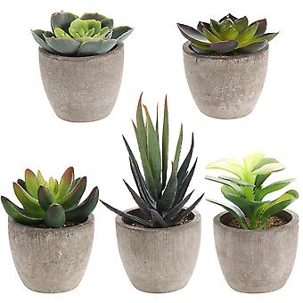 Yardwe 5pcs Retro Kunstige Sukkulenter Simulering Grønne planter Kreativ imitasjon Potted Bonsai Decor For Hjem
