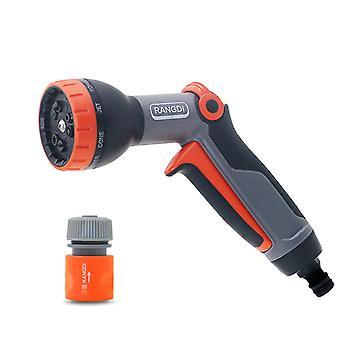 Premium sprinklerpistol med flera tillämpningar: Vattnings- och rengöringspistol, 9 sprayformer, filter, kraftig B