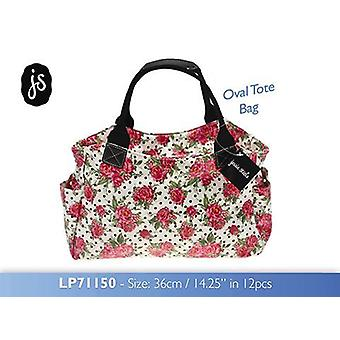 Roses Oval Tote Bag made from Oilcloth by Jessie Steele