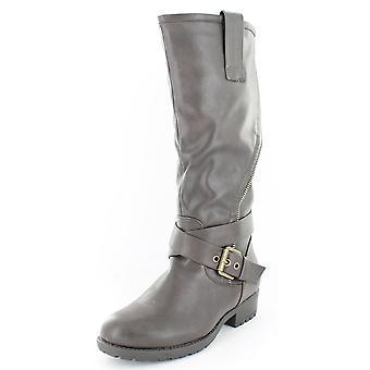 Ladies Spot On Asymmetric Zip Biker Style Boots Brown Size 3