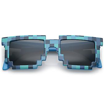 Retro Novelty Pixelated Print Square Sunglasses With Square Lens 50mm