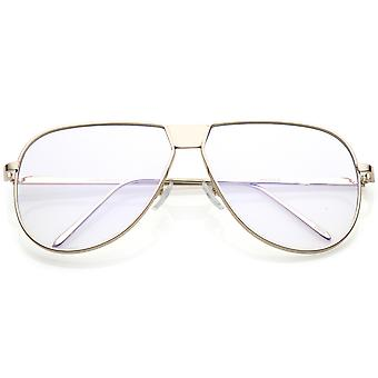 Oversize Full Metal Flat Top Aviator Glasses Clear Flat Lens 60mm
