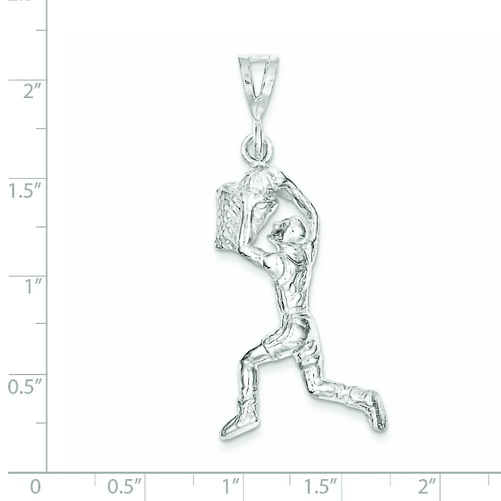 925 Sterling Silver Solid Polished Basketball Player Charm Pendant Necklace Jewelry Gifts for Women