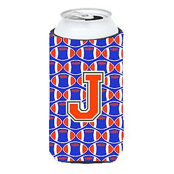 Letter J Football Green, Blue and Orange Tall Boy Beverage Insulator Hugger