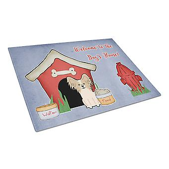 Hond huis collectie Papillon Sable witte glazen snijplank groot