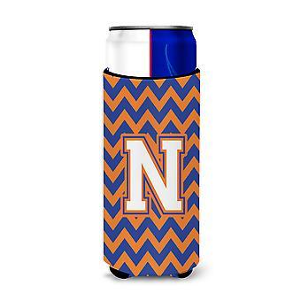 Letter N Chevron blauwe en oranje Ultra drank isolatoren voor slanke blikjes
