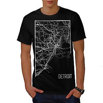 America City Detroit Men BlackT-shirt | Wellcoda