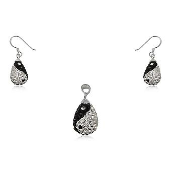 Pendant adornment and Earrings;Yin Yang Ears in Silver 925 and Black and White Crystal 2617