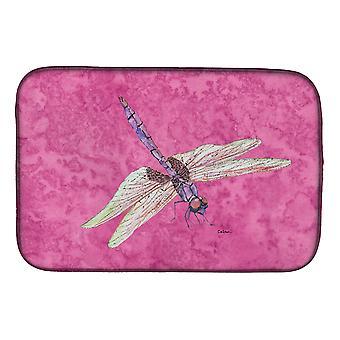 Carolines Treasures  8891DDM Dragonfly on Pink Dish Drying Mat