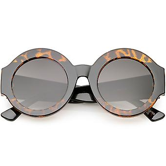 Oversize Glitter Two Toned Round Sunglasses Wide Arms Circle Lens 49mm
