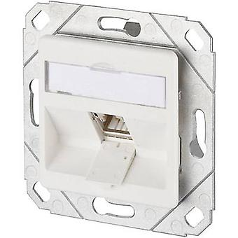 Metz Connect Network outlet Flush mount Insert with main panel CAT 6A 1 port Pure white