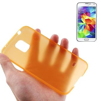 Schutzhülle Case Ultra Dünn 0,3mm für Handy Samsung Galaxy S5 / S5 Neo orange Transparent