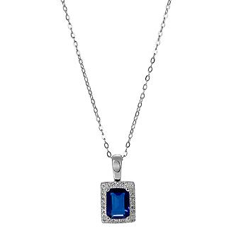 Orphelia 925 Silver Pendant with Chain 42 CM Rectangle with Sapphire and Zirconium