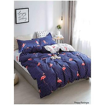 Preppy Flamingos Navy Pink Duvet Quilt Cover Bedding Set with Pillow Case