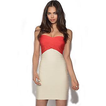 Colour Block Bandeau Bandage Dress